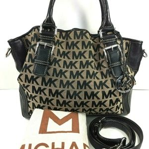 MICHAEL KORS BROOKVILLE LARGE CANVAS SATCHEL BLACK